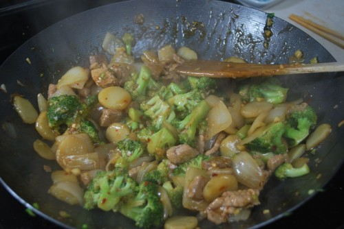 The sauce will get dark in color and thicken.