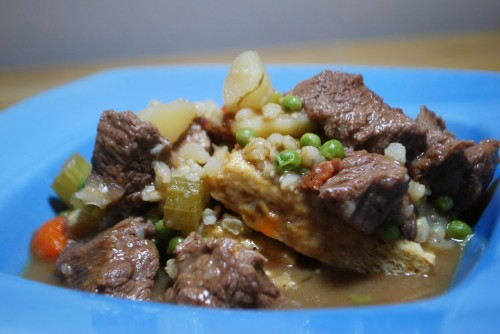 A hearty stew full of beef and beer