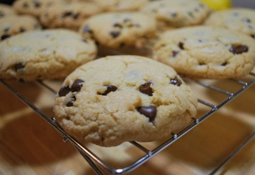 Light fluffy with a little crisp on the edges.  The perfect cookie.