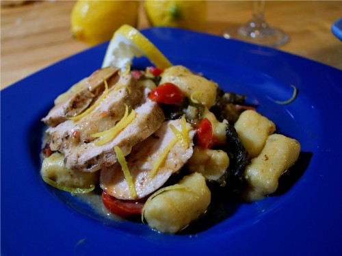 Savory Lemon Chicken Over Homemade Potato Gnocchi