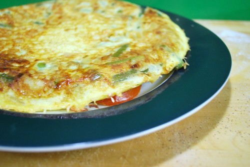 The frittata flipped out onto a plate