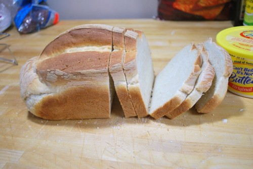 For stuffed sandwiches cut your bread about 1/2 in thick.  For unstuffed sandwiches cut your bread 3/4 to an inch thick.