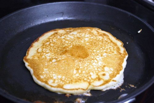 When you flip the pancake it should be perfectly browned and delicious looking.