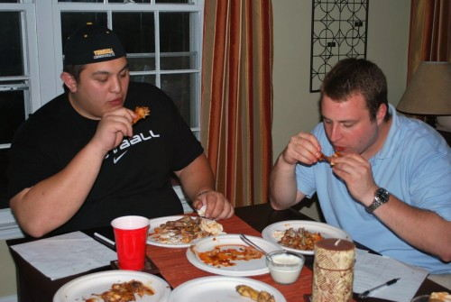 As you can see the judges had a tough time as they each had to eat 30 wings..