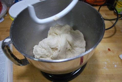 The dough is not sticky and is firm to the touch