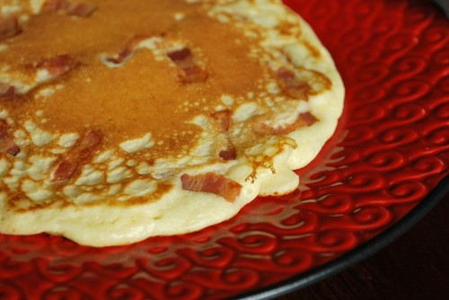 Look at the bacon flecks throughout the pancake.  Awesome!
