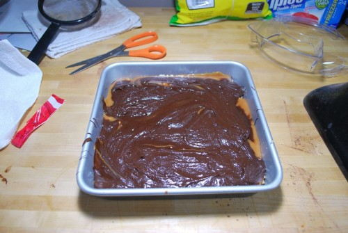 Cover with the remaining batter.  Spread it out the best you can.  When it heats up, it will spread out all over the top.
