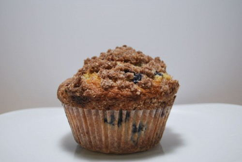 The texture of the crumb topping perfectly compliments the texture of the muffin.