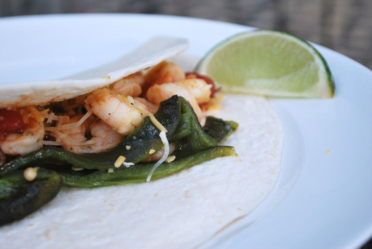 Grilled Shrimp Tacos with Roasted Peppers