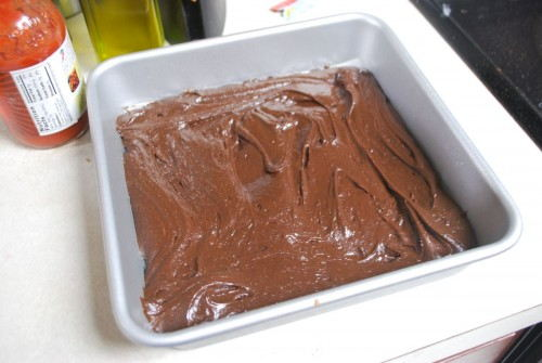 Place half of the batter into the pan and spread out evenly.