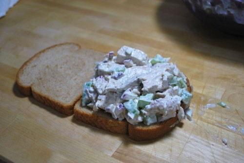 I love chicken salad so I always pile it high and eat up the bits that fall out with potato chips.