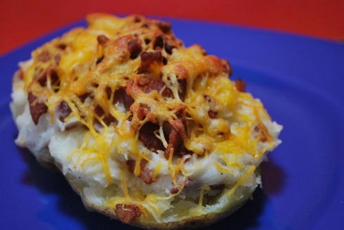 Perfectly cooked twice baked potatoes.