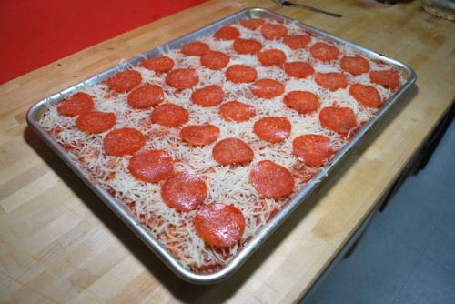 Perfectly lined up pepperoni
