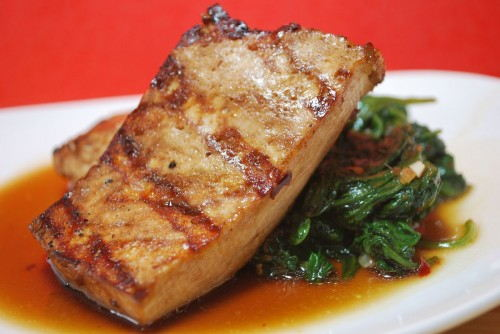 Grilled Tofu with Quick Stir-Fried Greens