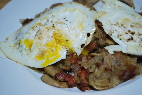 Ahh, runny eggs on bacon with a little bit of potato.  Awesome!!!