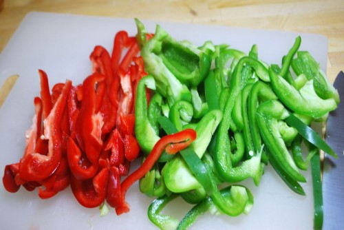 Cut the peppers into strips