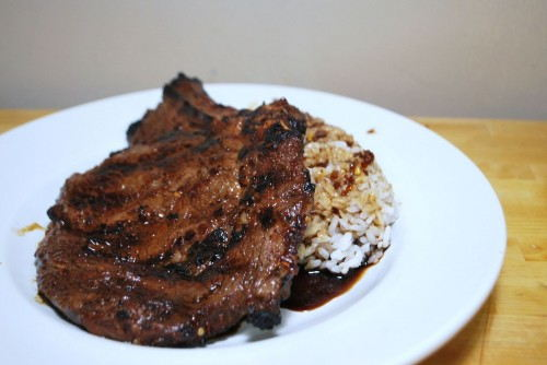 Korean Style Marinated Steak with Rice