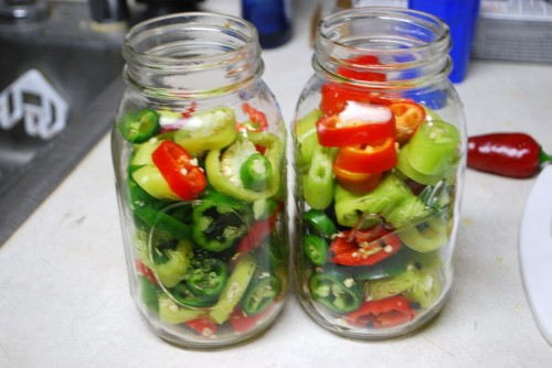 Place the peppers in the jars almost to the top.