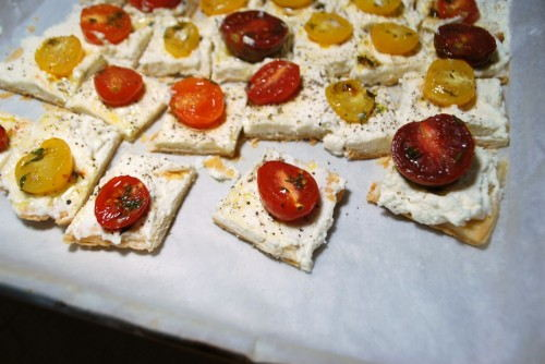 Cut into squares.  The heirloom cherry tomatoes made the tartlets colorful and super tasty.