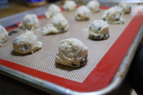 Make sure that the dough is spaced apart.  These cookies spread.