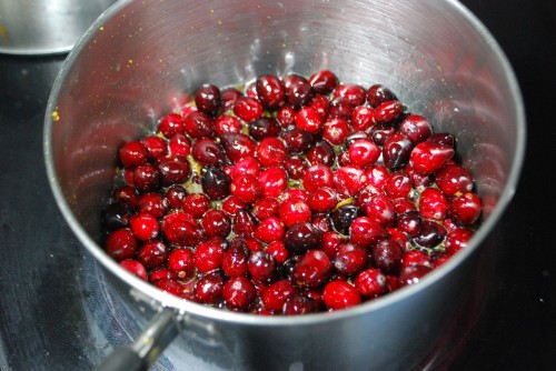 Add the cranberries to the sweet liquid