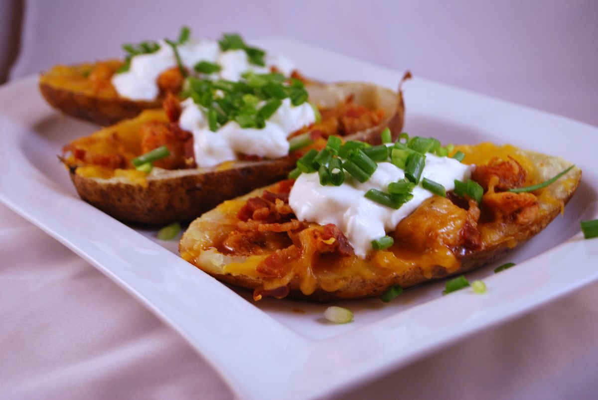 BBQ Chicken Potato Skins - SavoryReviews
