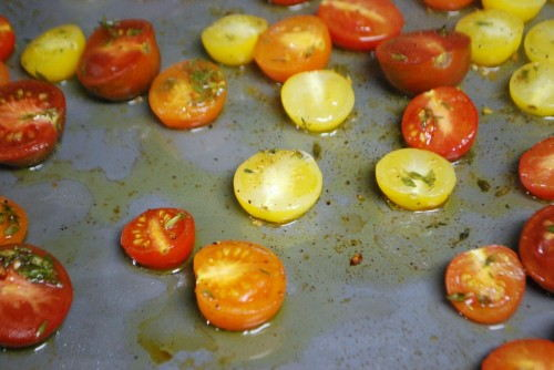 The tomatoes will be softened so let them cool on the sheetpan before using.