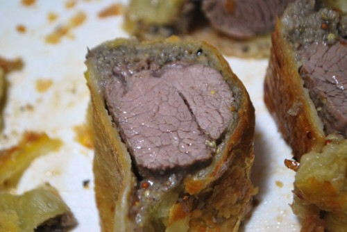 Mini Beef Wellington Rounds.  A perfect little appetizer.