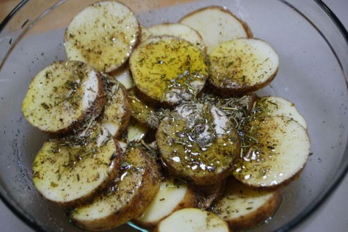 Toss the coins in oliveoil and seasonings