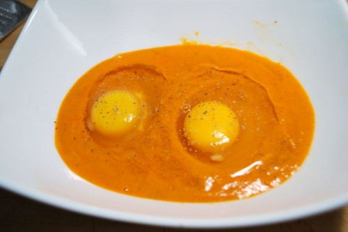 Crack the eggs into the sauce