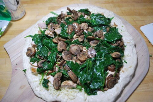 Layer with the chicken and then the spinach mushroom mixture