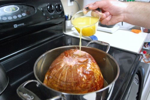 Baste the Ham in the pear/orange juice