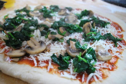 Top with the spinach and mushrooms