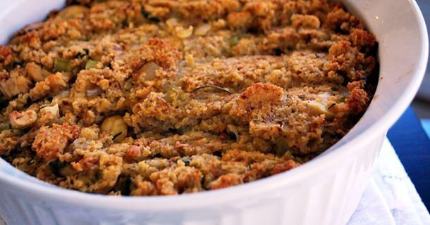 Roasted Chestnut and Corn Bread Dressing