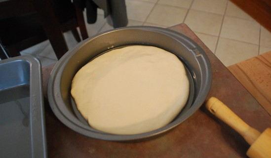 Place the dough into the pans