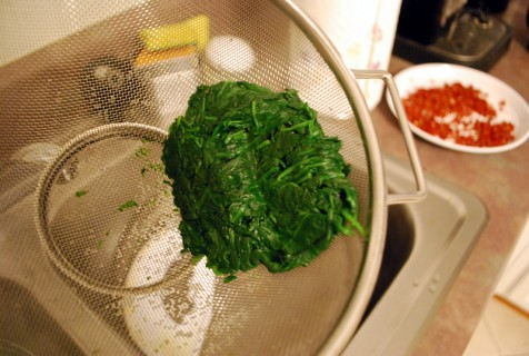 Drain the spinach
