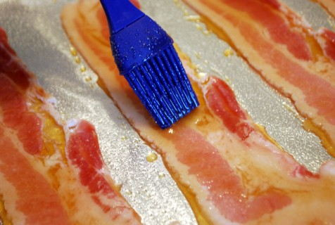 Brush the bacon with the glaze