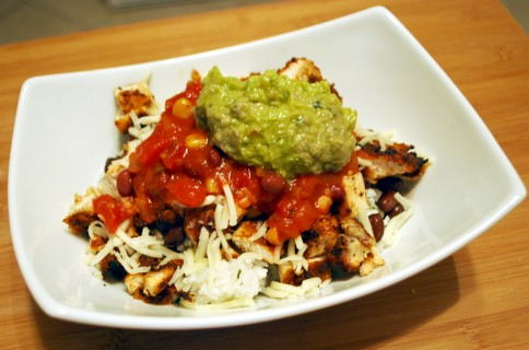 Top with the cheese, salsa and guacamole