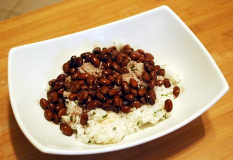 Start with the Cilantro Lime Rice and Black Beans