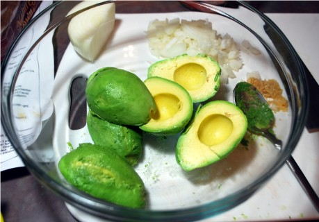 Toss the avocados with lime juice