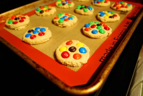 Flatten and cover with M & Ms