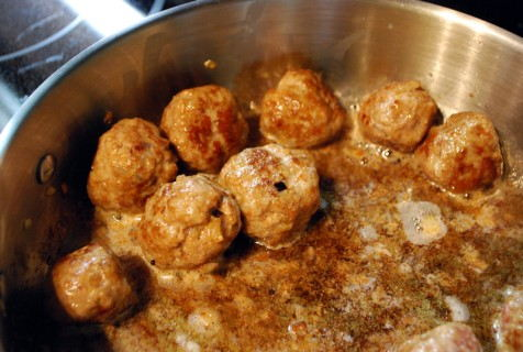 Saute the meatballs over medium-low heat