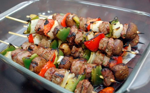 Steak Kabobs grilled to perfection