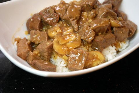 Beef tips with mushrooms over rice