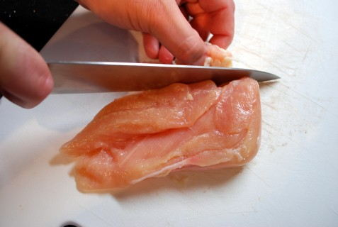 Trim the meat to remove the fat