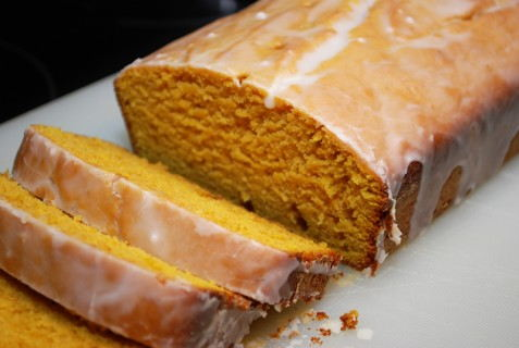 Perfectly cooked glazed pumpkin loaf