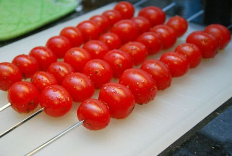 Skewer the tomatoes