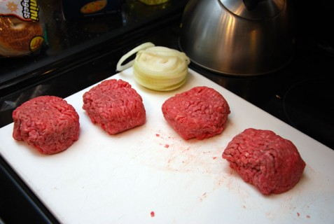 Onion and Burger Meat