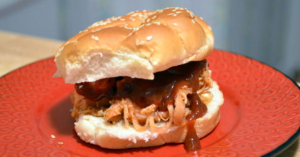 A perfect pulled chicken sandwich