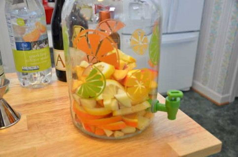Add the fruit to the jug